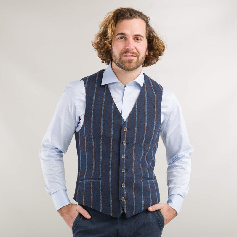 Blue With Sky And Brown Stripe Waistcoat