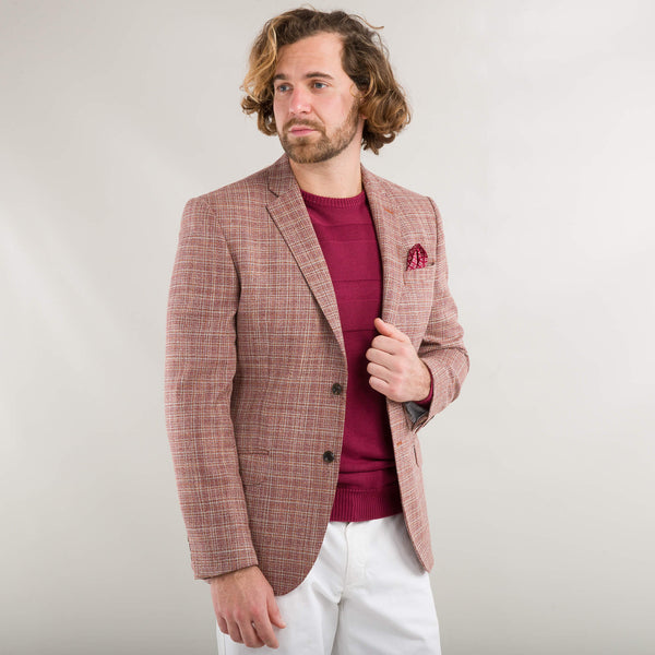 Lanificio F.lli Cerruti Orange Wool And Silk Basketweave Jacket