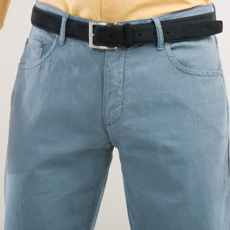 Blue Garment dyed Five Pocket Trousers