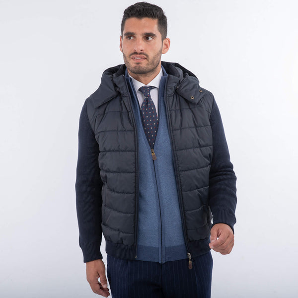 Navy Zip Front Hooded Jacket