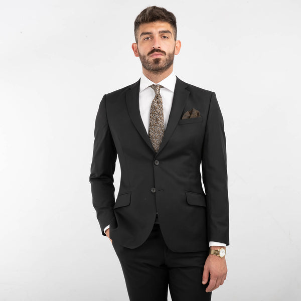 Cloth Ermenegildo Zegna Black Fine Stripe Textured Suit