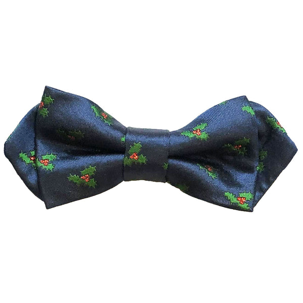 Navy With Green Christmas Holly Bow Tie
