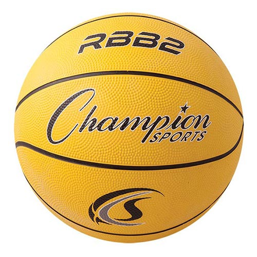 Champion Sports Rubber Basketballs - Junior 27.5 - Size 5 - Yellow