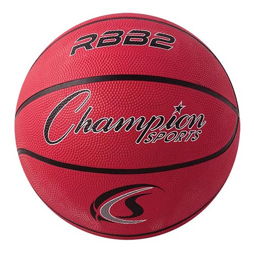 Champion Sports Rubber Basketballs - Junior 27.5 - Size 5 - Red