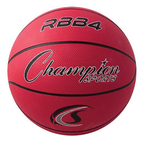 Champion Sports Rubber Basketballs - Intermediate 28.5 - Size 6 - Red