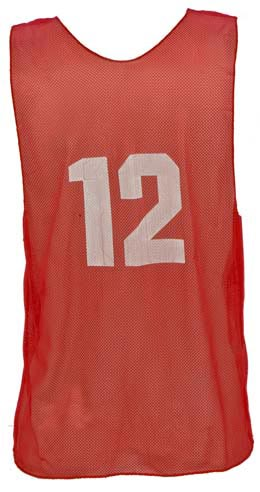 Numbered Youth Micro Mesh Vests - Red