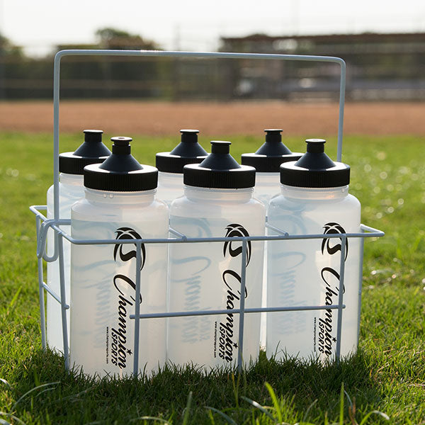 Coated Wire Water Bottle Carrier in Grass