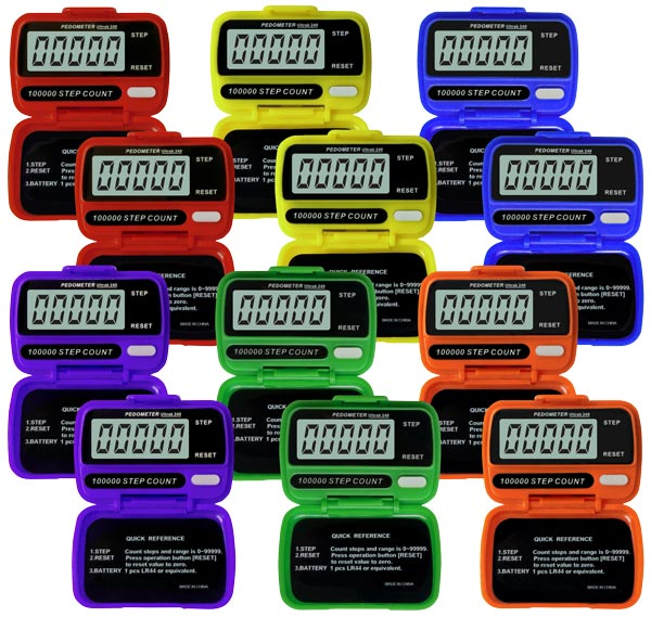 Colored Step Pedometers - Set of 12 (2 ea. Color)