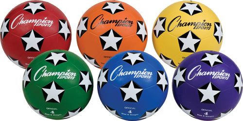 Champion Sports Colored Rubber Soccer Balls (Set of 6)