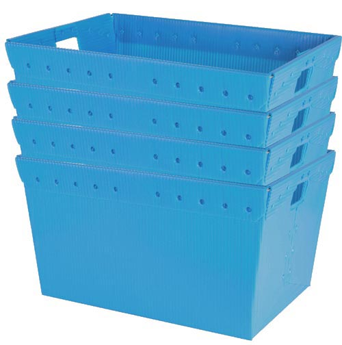 "Large Plastic Nestable Storage Totes - 24"" (Blue)(Set of 4)"