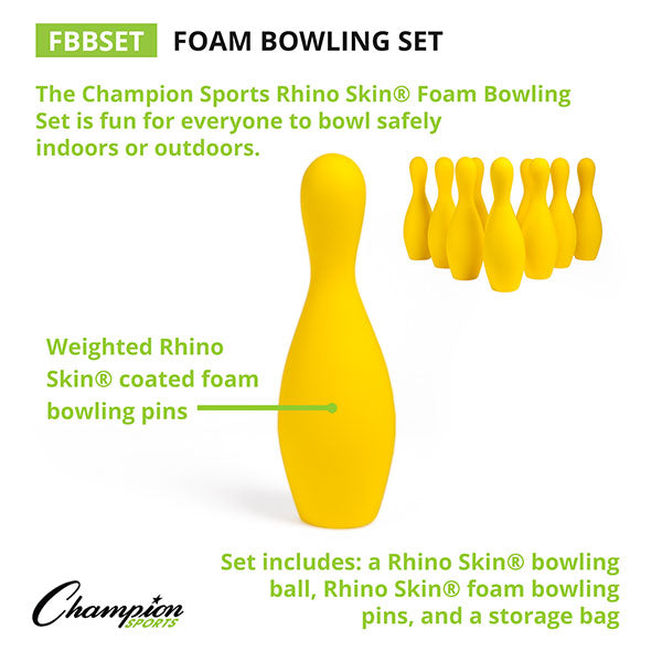 Champion Sports Foam Bowling Pin Set w/ Ball