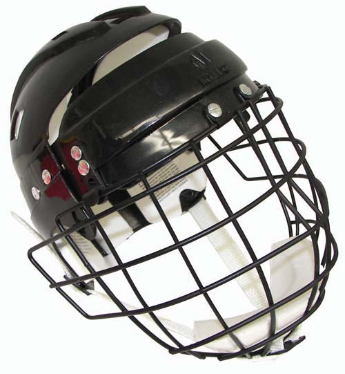 Hockey Helmet w/ Wire Face Cage - White