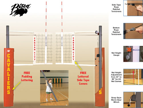 Match Point Aluminum Net System - With Floor Sockets - Royal