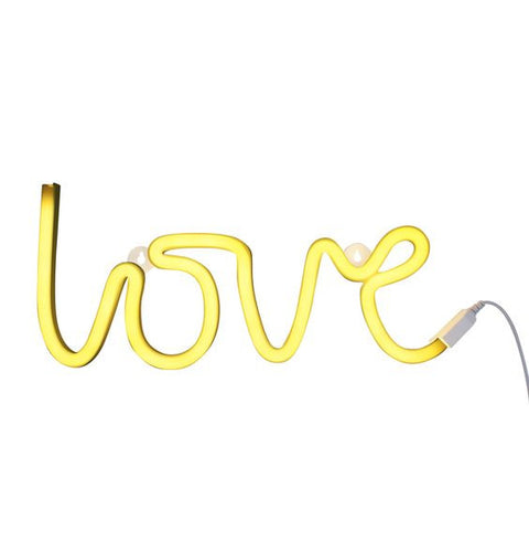 Neon Love Yellow Light