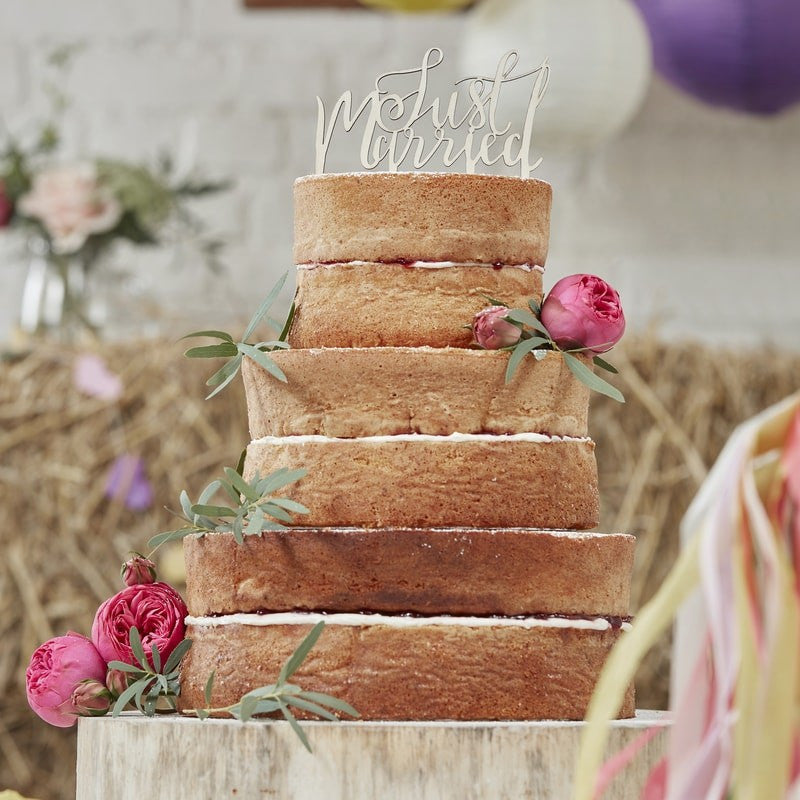 Just Married Wooden Cake Topper