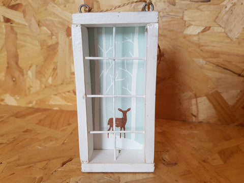 White Tall Window Snowy Deer Scene Picture