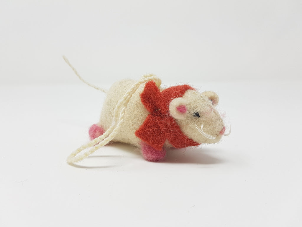 Felt White Mouse with Scarf 1