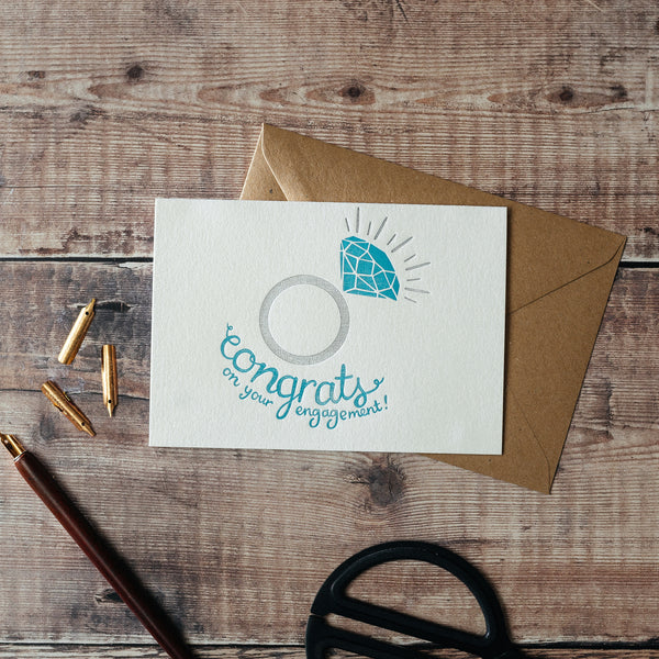 Congrats On Your Engagement Letterpress Card