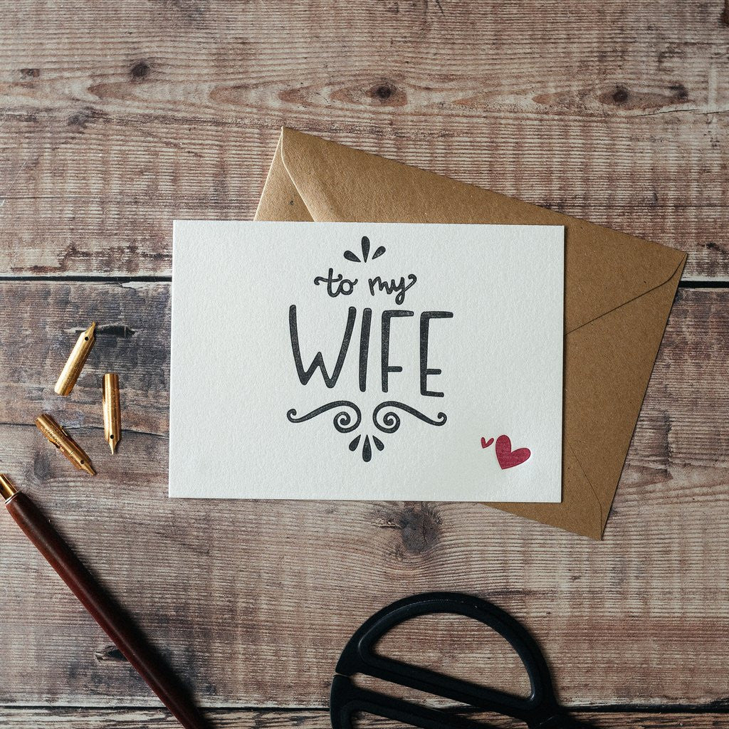 To My Wife Letterpress Card