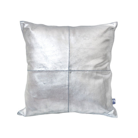 Silver Leather Cushion
