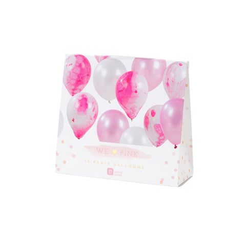 We Heart Pink Marble Balloons