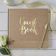 Kraft Guest Book with Gold