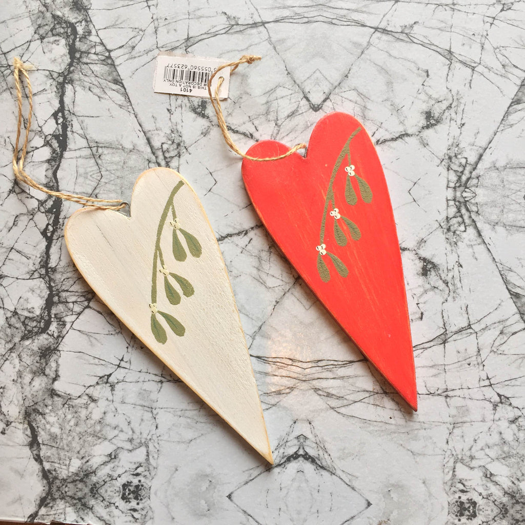 Wooden Mistletoe Heart