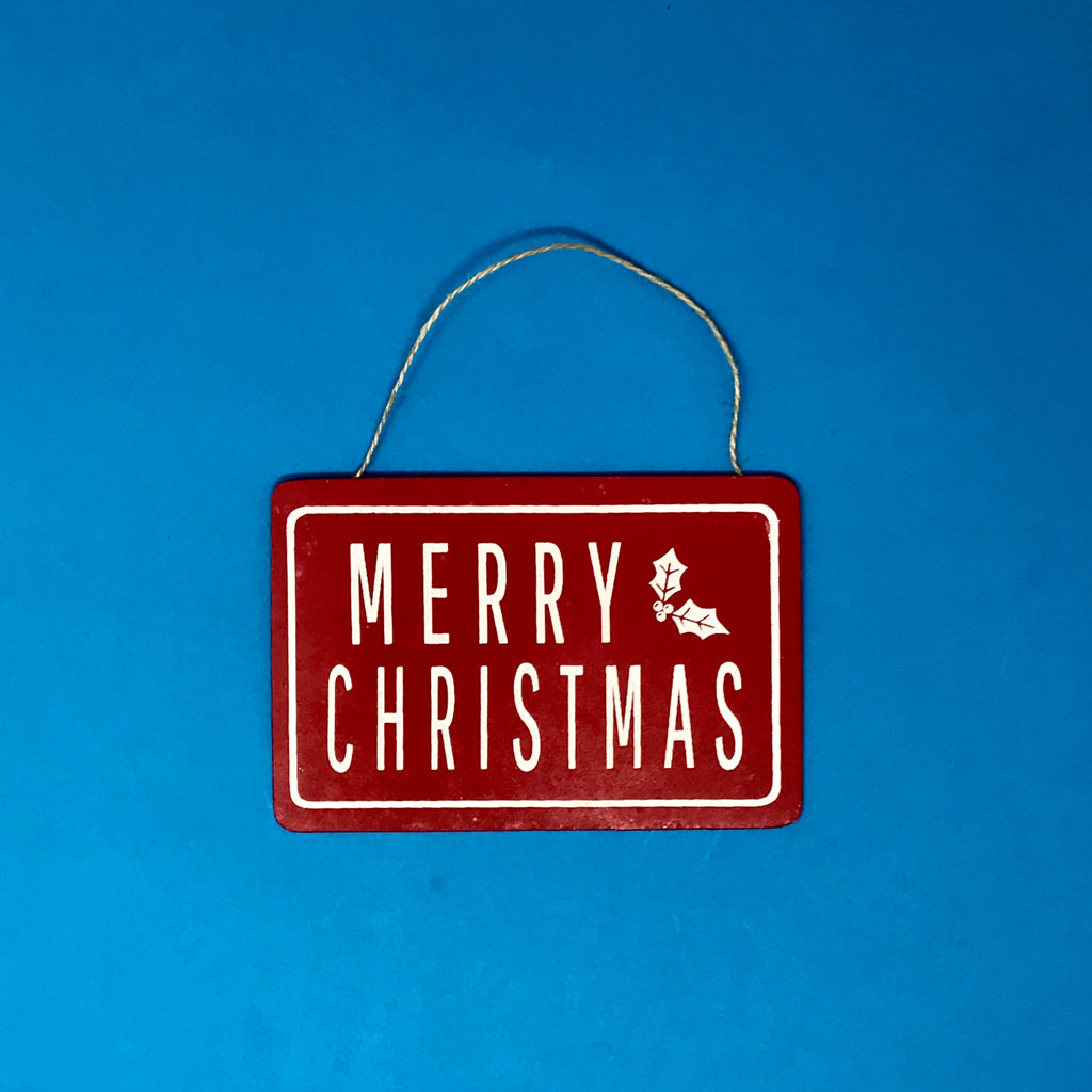 Red Tin Merry Christmas Sign