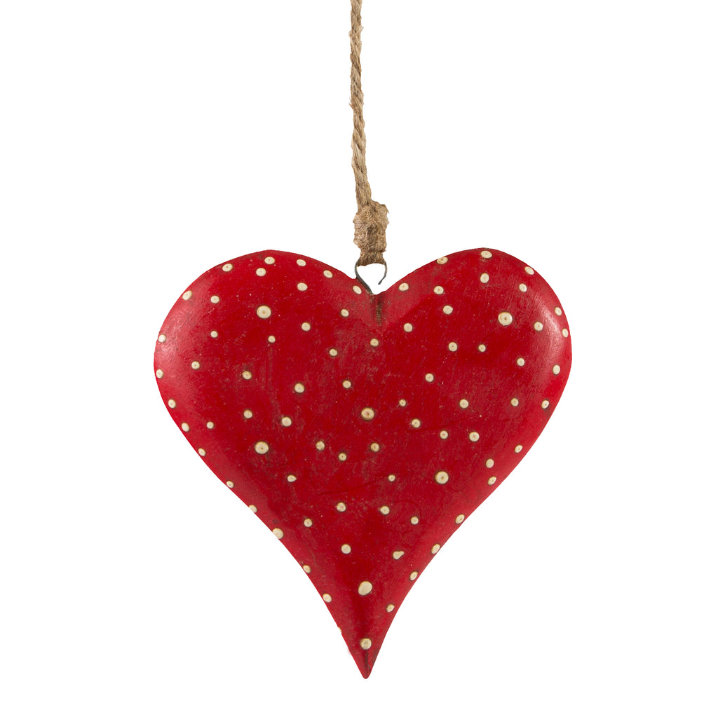 Red Dotty Wooden Heart