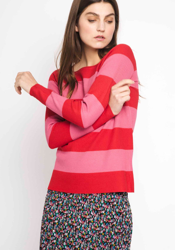 Pink & Red Striped Sweater