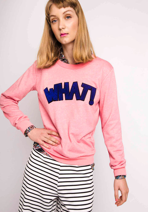 Pink 'What' Jumper