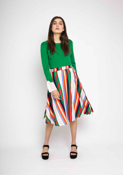 Multicolored Vertical Striped Skirt