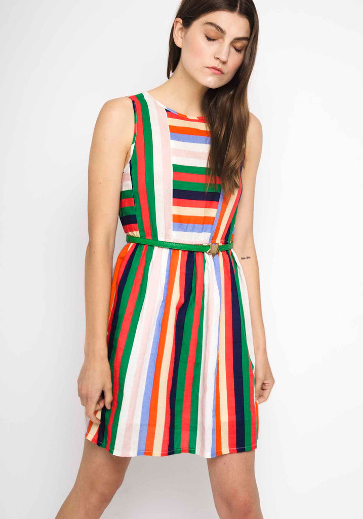 Multicolored Vertical Striped Dress Moss Cottage