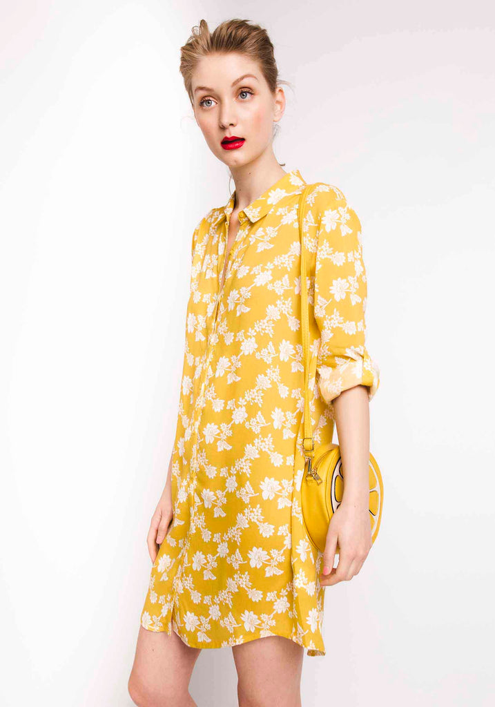 Yellow Floral Print Shirt Dress#