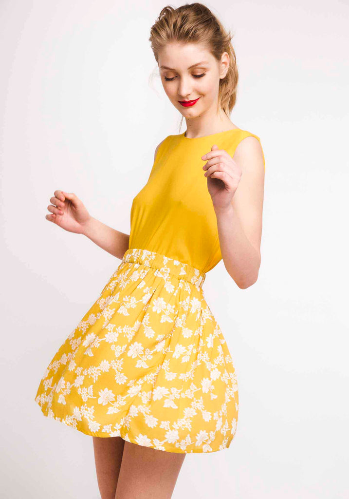 Yellow Print Skirt#