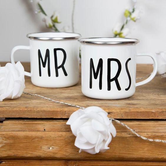 Enamel Mr and Mrs Mug