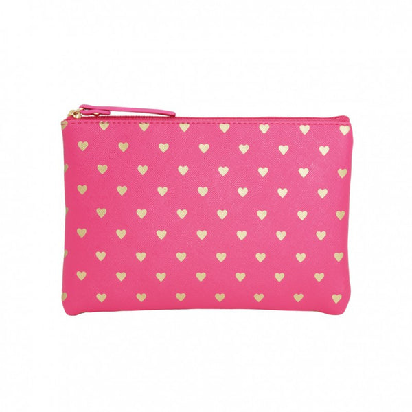 Fuchsia Gold Hearts Flat Pouch Large