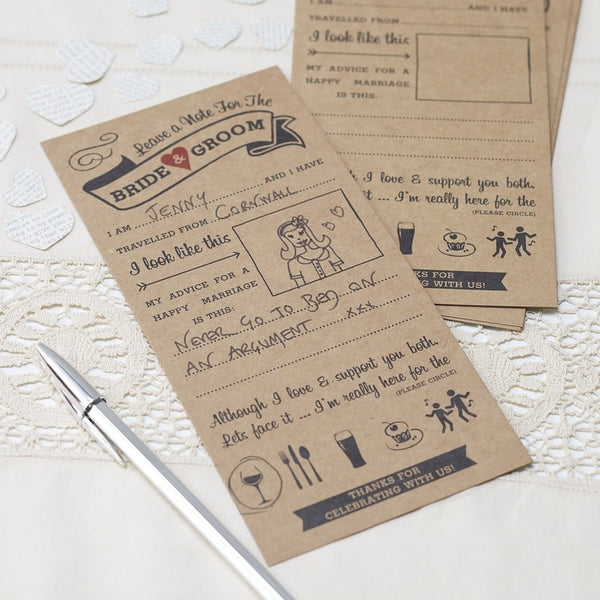 Advice Kraft Cards For The Bride And Groom