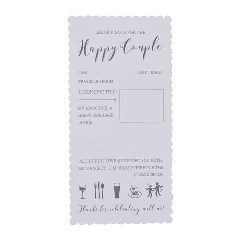 Advice Cards To The Bride And Groom- white