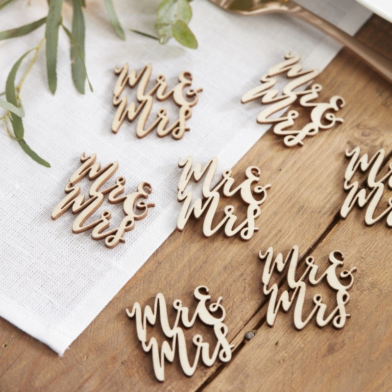 Wooden Confetti Mr and Mrs