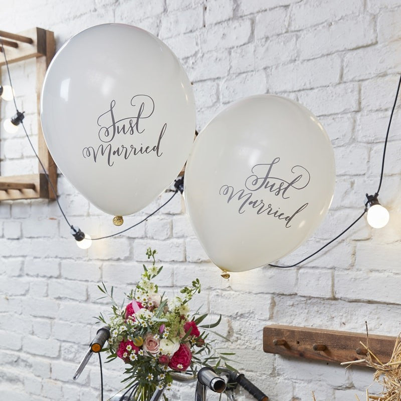 Just Married Balloons 10/Pack