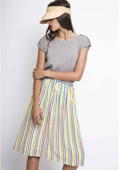 Multi Colour Striped Midi Skirt