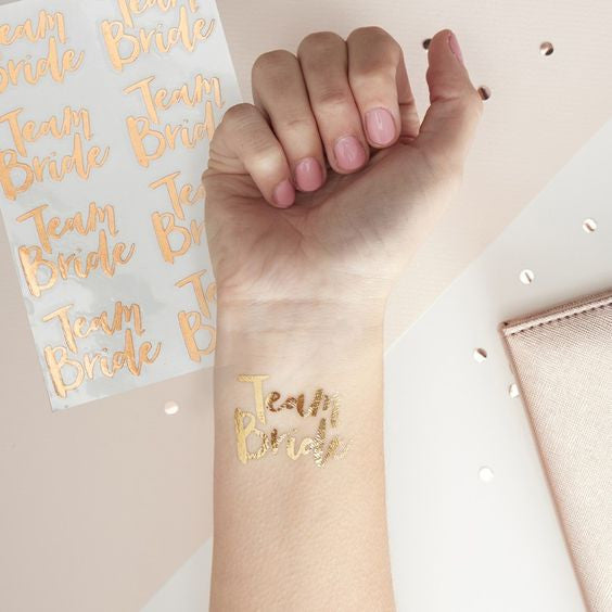 Team Bride Temporary Rose Gold Tattoos