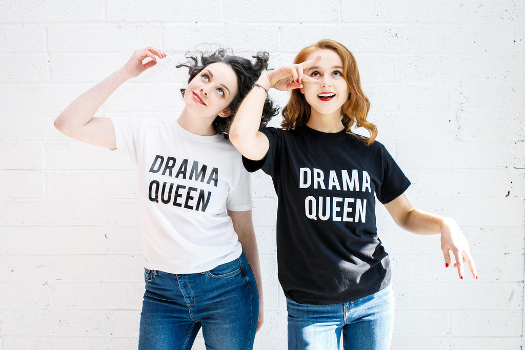 Drama Queen Slogan T-Shirt (Black