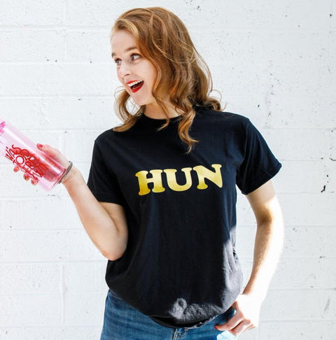 'Hun' Slogan T-Shirt (Black &Gold)