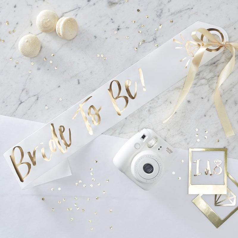 Bride To Be Sash -White & Gold Foiled