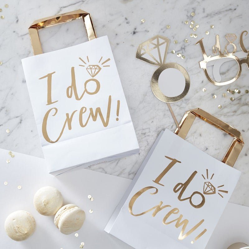 Gold foiled I do crew party bags