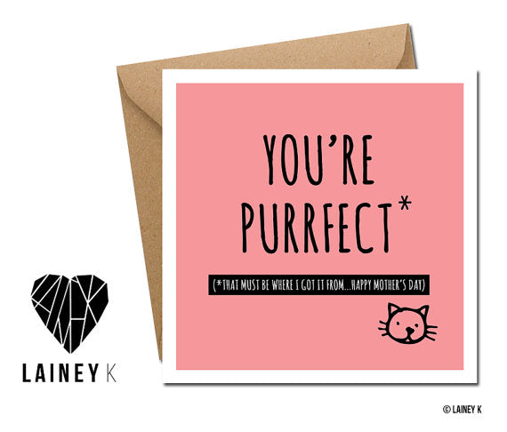 'Mum You're Purrfect' Greeting Card