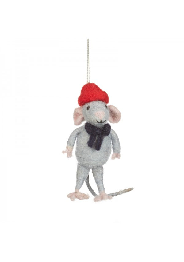 Felt Mouse With Red Hat