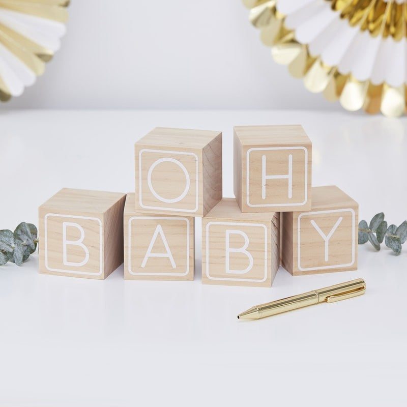Wooden Guest Book: Baby Blocks